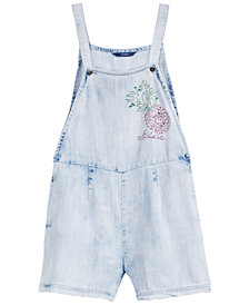 GUESS Big Girls Rhinestone Cotton Denim Short Overalls