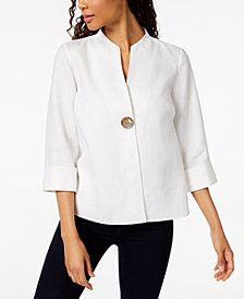 JM Collection Linen Single-Button Jacket, Created for Macy's