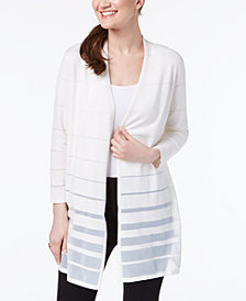 Alfani Shadow-Stripe Cardigan, Created for Macy's