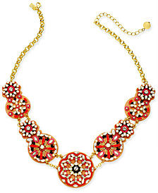 "kate spade new york Gold-Tone Multi-Stone, Bead, Imitation Pearl & Leather Statement Necklace, 18"" + 3"" extender"