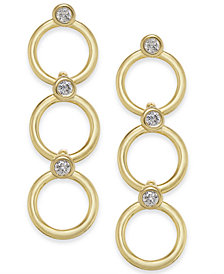 kate spade new york 14k Gold-Plated Crystal & Circle Triple  Drop Earrings