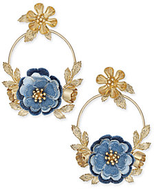 kate spade new york 14k Gold-Plated Denim Doorknocker Drop Earrings