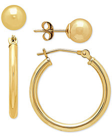 2 Pc. Set Polished Stud & Hoop Earrings in 14k Gold, 3/4 inch Hoop