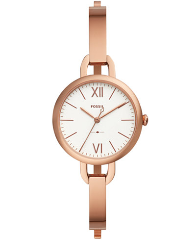 Fossil Women's Annette Rose-Gold Tone Stainless Steel Bangle Bracelet Watch 30mm
