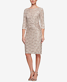 Alex Evenings Sequined Lace Sheath Dress