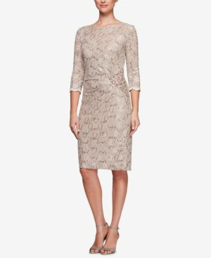 Alex Evenings Sequined Lace Sheath Dress 5928631