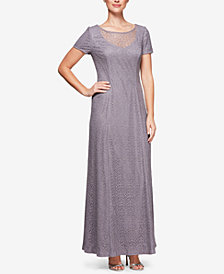 Alex Evenings Illusion Glitter Lace Gown