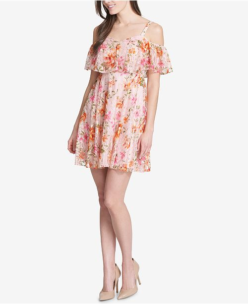 b0cc7c5aad kensie Floral Lace Cold-Shoulder Dress   Reviews - Dresses - Women ...