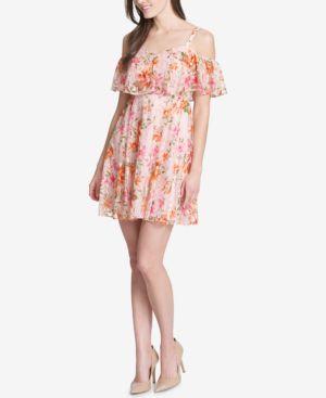 KENSIE FLORAL LACE COLD-SHOULDER DRESS