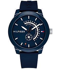 Tommy Hilfiger Men's Navy Silicone Strap Watch 44mm Created for Macy's
