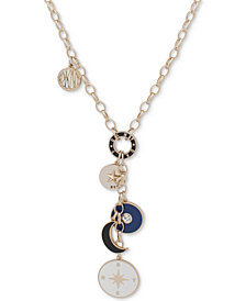 """DKNY Gold-Tone Multi-Charm Lariat Necklace, 28"""" + 3"""" extender, Created for Macy's"""