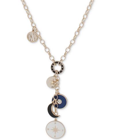 DKNY Gold-Tone Multi-Charm Lariat Necklace, 28