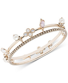Marchesa Gold-Tone Imitation Pearl & Stone Charm Two-Row Bangle Bracelet