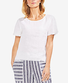 Vince Camuto Frayed Linen Top