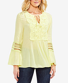 Vince Camuto Bell-Sleeve Lace-Appliqué Top