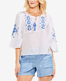 Vince Camuto Embroidered Cotton Tassel-Detail Top
