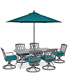 "CLOSEOUT! Glenwood Outdoor 7-Pc. Dining Set (72"" x 38"" Dining Table & 6 Swivel Rockers) with Sunbrella® Cushions, Created for Macy's"