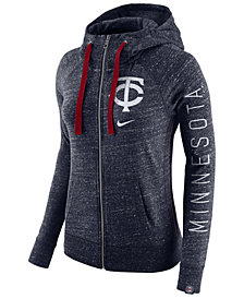 Nike Women's Minnesota Twins Gym Vintage Full Zip Hooded Sweatshirt