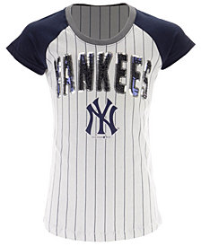 5th & Ocean New York Yankees Sequin Pinstripe T-Shirt, Girls (4-16)