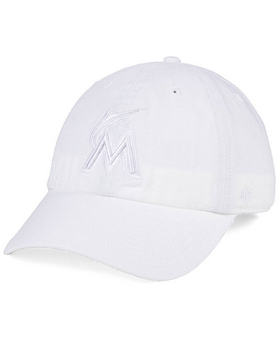 '47 Brand Miami Marlins White/White CLEAN UP Cap