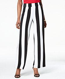 I.N.C. Striped Wide-Leg Soft Pants, Created for Macy's