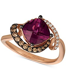 Raspberry Rhodolite® (1-3/4 ct. t.w.) & Diamond (1/4 ct. t.w.) Ring in 14k Rose Gold