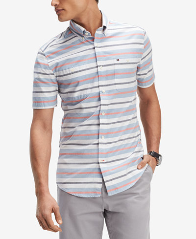 Tommy Hilfiger Men's Multi-Stripe Classic Fit Shirt, Created for Macy's