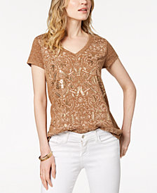 Style & Co Metallic Graphic T-Shirt, Created for Macy's