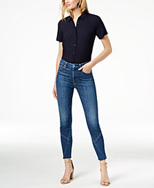 7 For All Mankind Seamed High-Rise Ankle Skinny Jeans