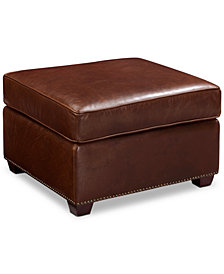 Chandler Leather Ottoman, Quick Ship