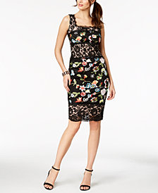 JAX Mixed Lace & Embroidered Sheath Dress