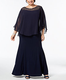 XSCAPE Plus Size Embellished Caped-Overlay Gown