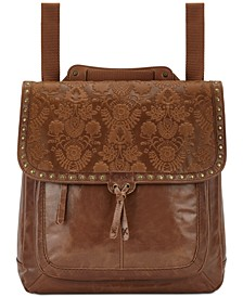 Ventura Embossed Leather Convertible Medium Backpack
