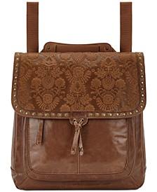 Ventura Embossed Leather Convertible Medium Backpack