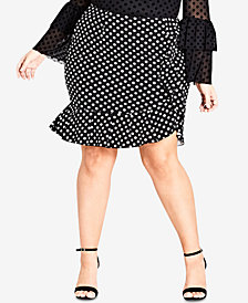 City Chic Trendy Plus Size Ruffled Faux-Wrap Skirt