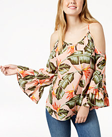 7 Sisters Juniors' Printed Bell-Sleeved Cold-Shoulder Blouse