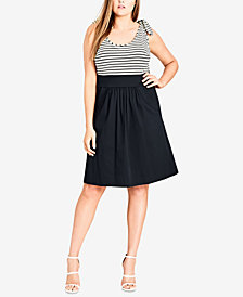 City Chic Trendy Plus Size Tie-Strap Fit & Flare Dress