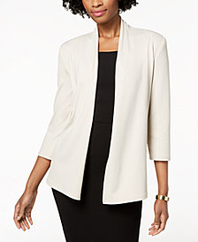Kasper Ribbed Open-Front Cardigan