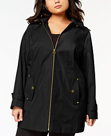 MICHAEL Michael Kors Plus Size Hooded Zip-Front Raincoat