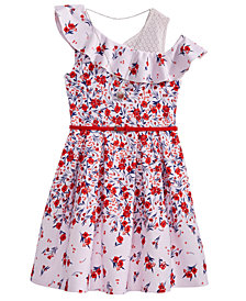 Beautees Big Girls Plus 2-Pc. Layered-Look Floral-Print Dress & Necklace Set