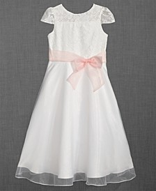 Lace Illusion-Neck Dress, Little Girls