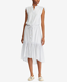 Lauren Ralph Lauren Petite Button-Down Drawstring Dress