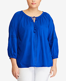Lauren Ralph Lauren Plus Size Tie-Neck Cotton Top