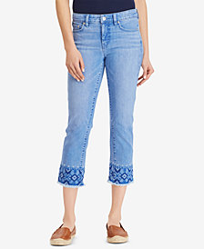 Lauren Ralph Lauren Embroidered Straight Crop Jeans