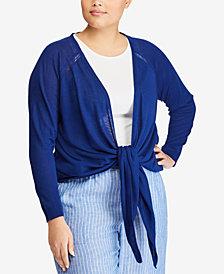 Lauren Ralph Lauren Plus Size Tie-Front Cardigan