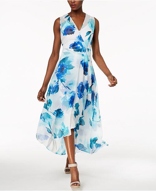 c285990328b Calvin Klein Printed Chiffon Faux-Wrap Dress