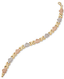 Giani Bernini Tri-Color Heart Link Bracelet in Sterling Silver, 18k Gold-Plate & 18k Rose Gold-Plate, Created for Macy's