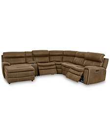 Leilany 6-Pc. Fabric Chaise Sectional Sofa with 2 Power Recliners, Power Headrests, Console and USB Power Outlet