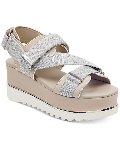 3531b6e78 GUESS Women s Laureta Flatform Logo Sport Sandals   Reviews ...