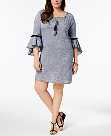 Style & Co Plus Size Cotton Off-The-Shoulder Flutter-Sleeve Dress, Created for Macy's